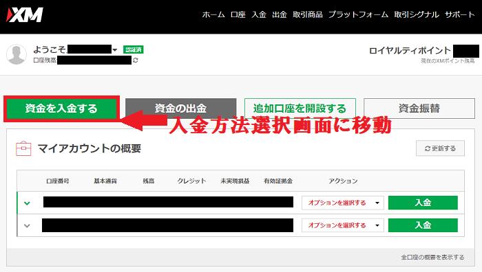 XMの会員ページで入金方法選択画面に移動する
