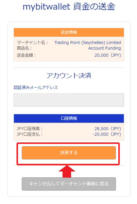 mybitwalletの資金送金画面
