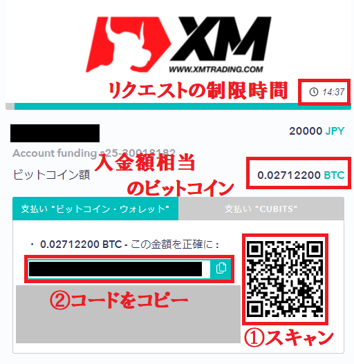 XMビットコイン入金の情報表示画面