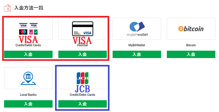 XMの入金方法一覧からクレジットカードを選択