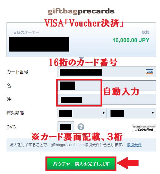 VISAカード(Voucher決済)の入力画面