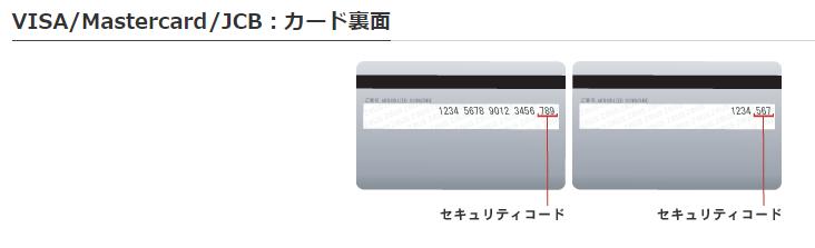 クレジットカード裏面のセキュリティーコード